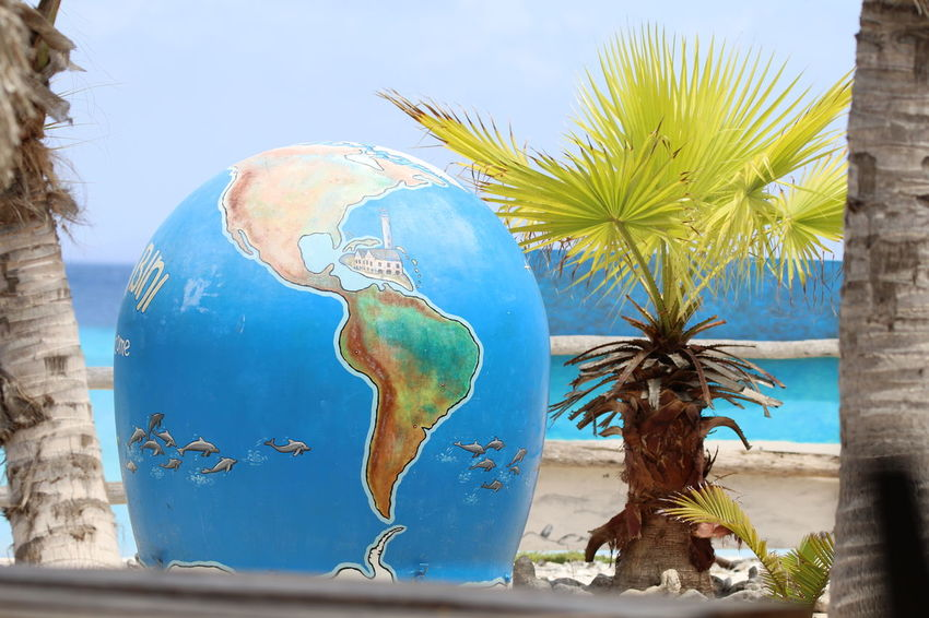 Beach Caribbean Sea Day Decoration Globe Klein Curacao Outdoors Palm Tree Scenics Sea Sky Summer Travel