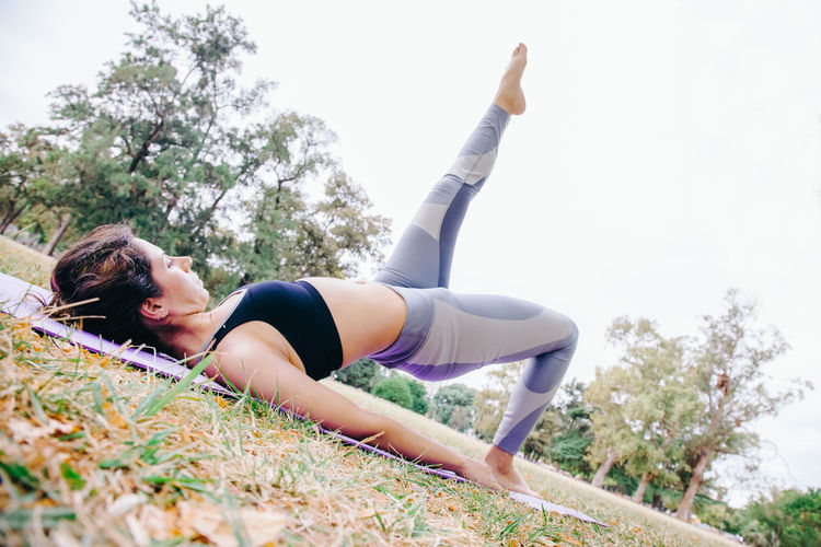 Woman exercising at park