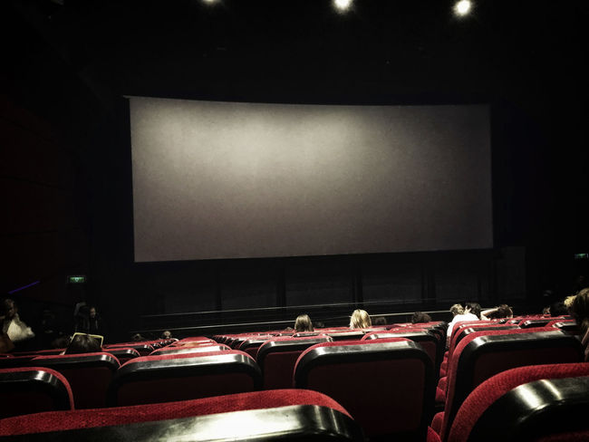 People seated in an almost empty cinema theatre before the show starts Arts Culture And Entertainment Cinema Dark Empty Empty Places Few Film Indoors  Light Men MOVIE Movie Theatre  Movies Movies, And Snacks Night People Screen Seated Theatre Women