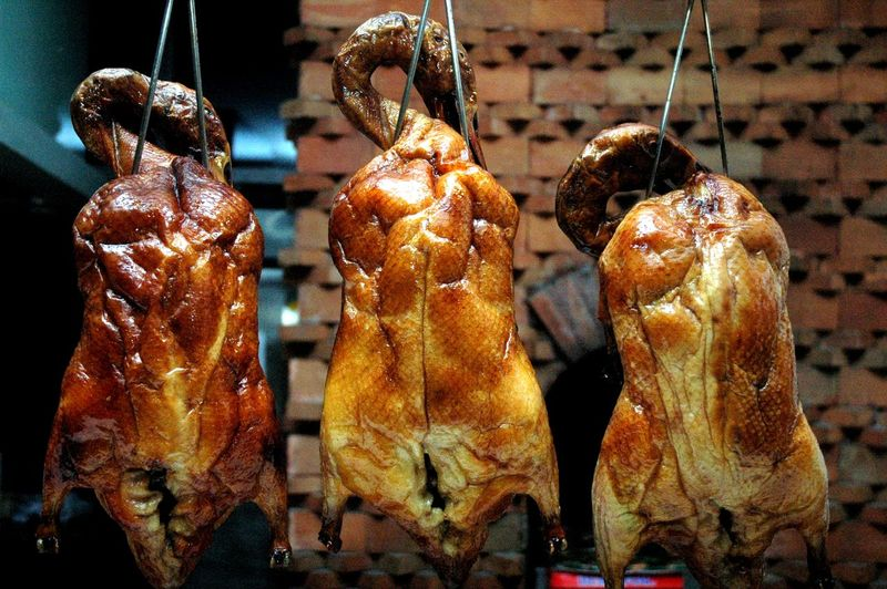Chinese Food Eyeem Philippines Eyeem Philippines Album Peking Ducks Roast Duck Barbecue Close-up Day Duck Food Food And Drink Freshness Hanging Indoors  Meat No People Peking Duck Ready-to-eat Unhealthy Eating
