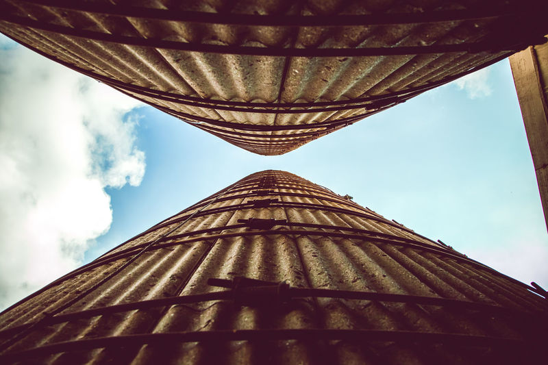 Be Brave Architectural Column Architecture Architecture And Art Building Building Exterior Built Structure Ceiling City Cloud - Sky Day Diminishing Perspective Directly Below Low Angle View Metal Nature No People Outdoors Pattern Roof Silo Sky Sunlight Tall - High Tower