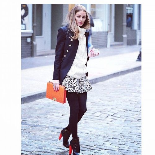 Another cute look by Miss Palermo! One of the great things about winter is layering.. This is done right! ? Oliviapalermo Blazer Miniskirt Melbourneweather