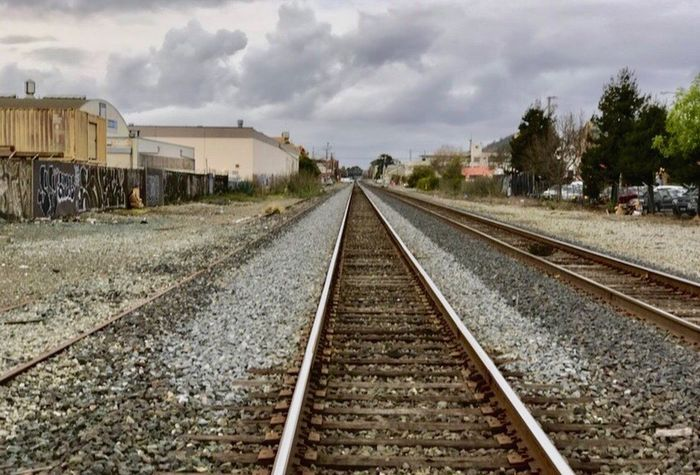 Railroad Track Rail Transportation Transportation Sky Cloud - Sky Outdoors Day The Way Forward No People Railway Track Railroad Tie L. Jeffrey Moore IPhone7Plus Perspectives On Nature