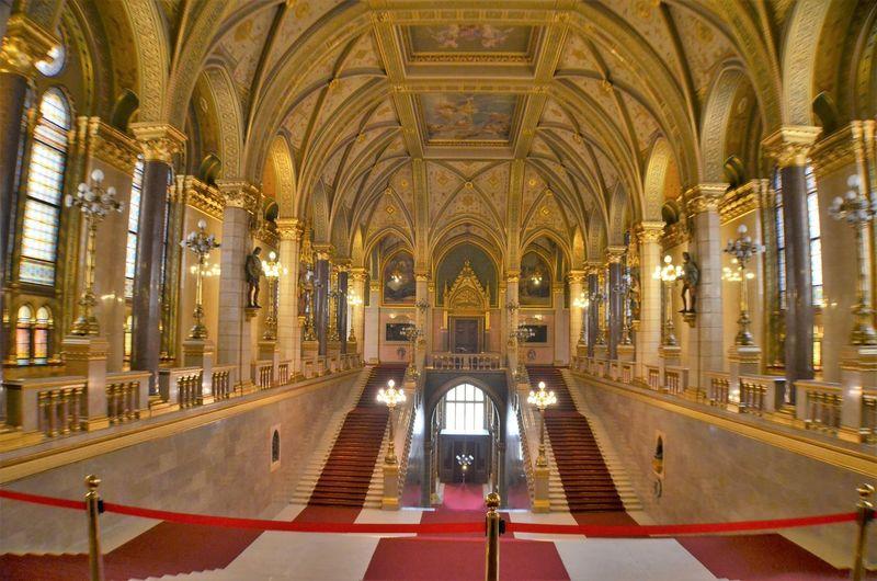 Interior of illuminated cathedral