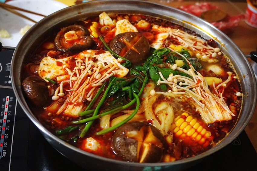 Come set your intestines on fire! Food And Drink Freshness Ready-to-eat Hotpot Dinner SiChuan Cuisine Dinner At Home 麻辣 Spicy Numbing Chili Pepper Sichuan Peppers Most Exciting Way To Eat Veges Induction Cooker Chopsticks Full Heat