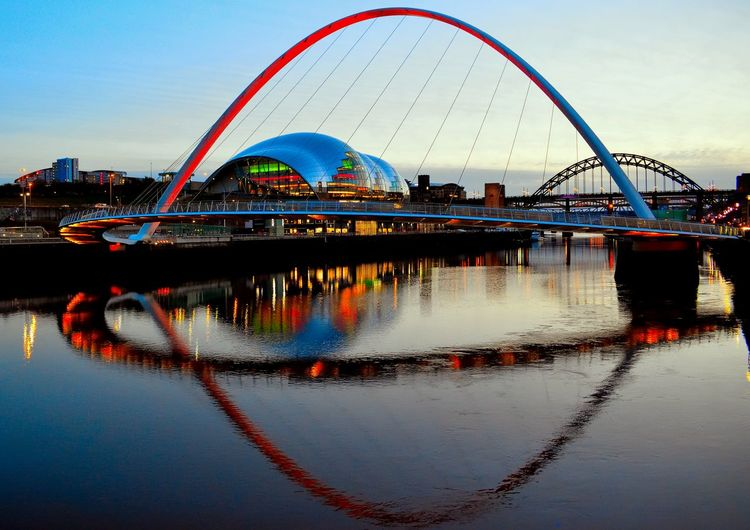 Lights The Sage Water Reflections Architecture Bridge Bridge - Man Made Structure Brige Building Exterior Built Structure City Connection Millennum Bridge Modern Nature No People Outdoors Reflection Reflections River Sky Transportation Travel Travel Destinations Water Waterfront