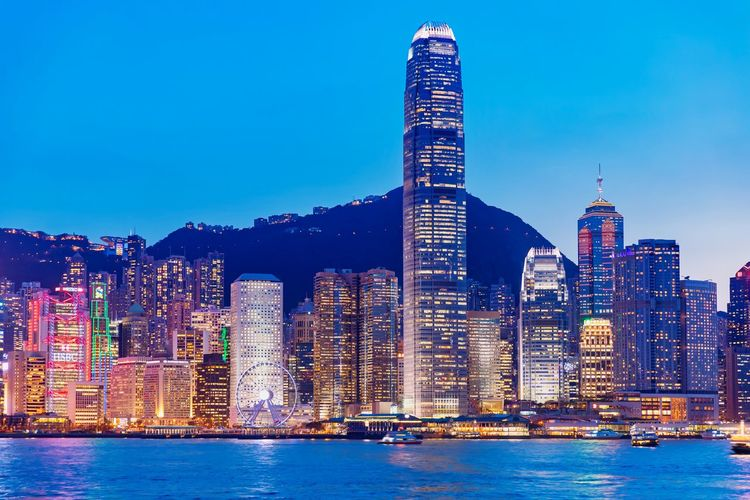 Hong Kong Victoria Harbour Night Building Victoria Harbour High-rise Building Special Administrative Region Prosperous City Financial Center Pearl Of The Orient Urban Style Tourist Attraction  China Blue Sky Landscape HongKong Central Skyscraper Shopping Haven Modern Development Of Scenery Bustling Cityscape Night View