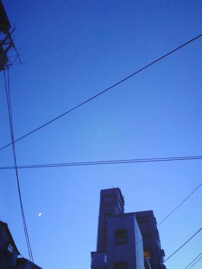 Blue Sky With New Moon. Taiwan