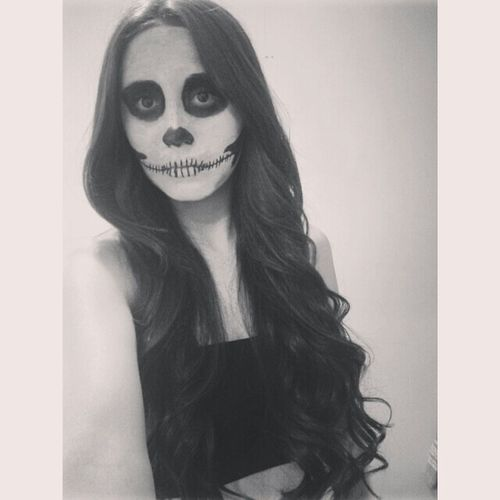 Skull Makeup Skull Halloween Long Hair Black And White October Hipster Pale Costume Scary