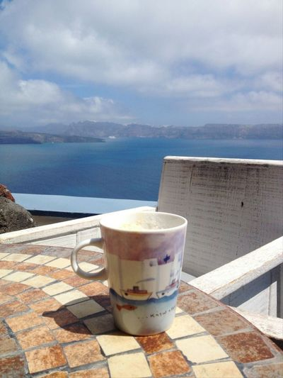 Morning Coffe. Aegeansea Greece Santorini, Greece Coffee Time Blue Sky Astarte Suites Hotel