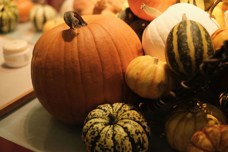 Close-Up Of Pumpkins On Table For Sale