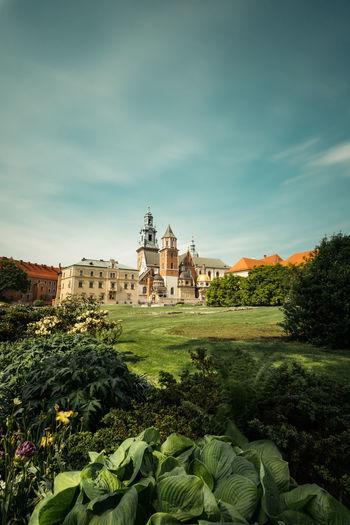 Buildings against sky wawel castle krakow poland
