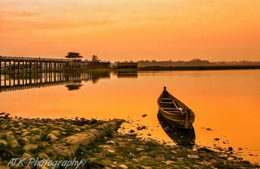 Lonely Boat.Myanmar. Landscape_photography Landscape_Collection Myanmarphotos Mandalay Ubeinbridge