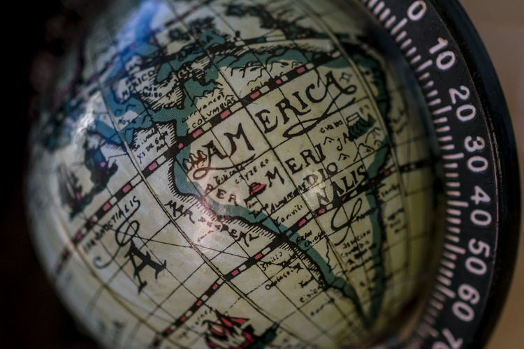 Map of America on globe map. Close up map of America on vintage globe map, macro. Country Earth Geographic Geography Land America Border Close-up Conceptual Continent Detailed Globe Hemisphere Illustration Latitude Longitude Map Nation No People Object Ocean Old Planet Earth Political Vintage