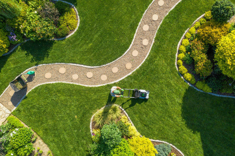 High angle view of people on grass