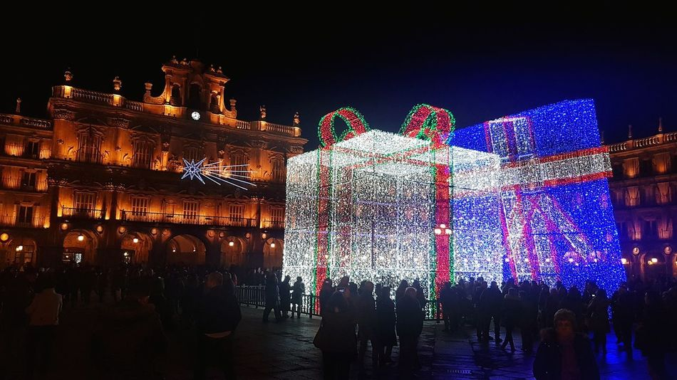 Night Lights Chrismas Lights Square Major Square Salamanca, Spain Lights And Shadows Lights Game. Historical Monuments Historic Beautiful Site Beautiful Square Night Illuminated City Outdoors People