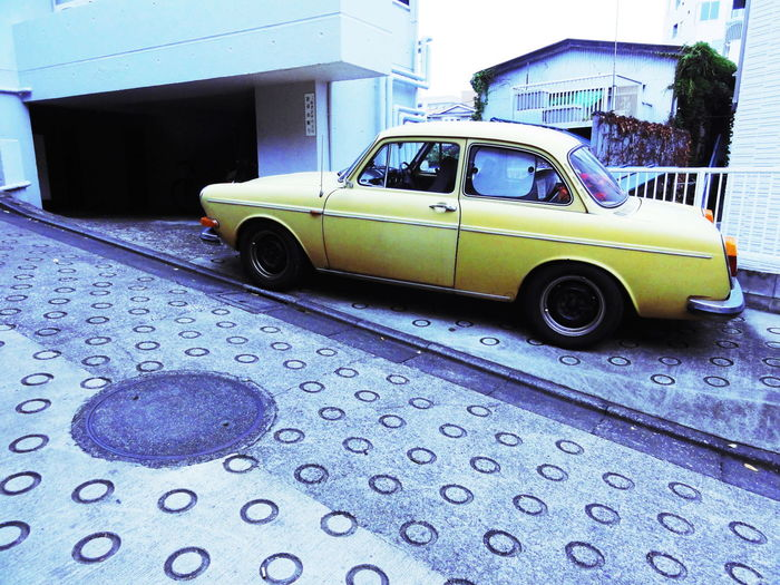 #cars #classic #Old Car #tokyo #boysfashion #vintage #VW #yellow Blue Close-up Day Focus On Foreground Land Vehicle Mode Of Transport No People Outdoors Parked Parking Stationary