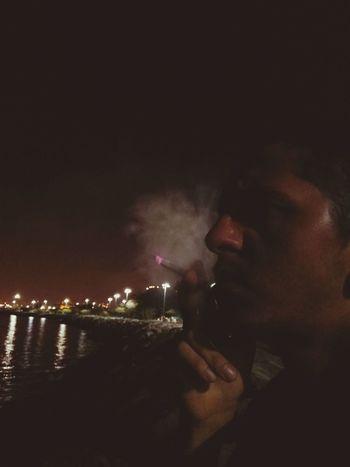 Smooking Rocky Coast Night
