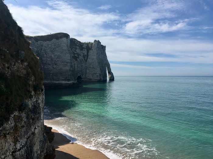 étretat Normandy Normandie Holiday Seascape Landscape Travel Destinations Travel Sea Water Sky Scenics - Nature Beauty In Nature Land Beach Cloud - Sky Horizon Over Water Horizon Tranquil Scene Rock Nature Rock - Object Cliff Rock Formation Tranquility Idyllic Solid No People