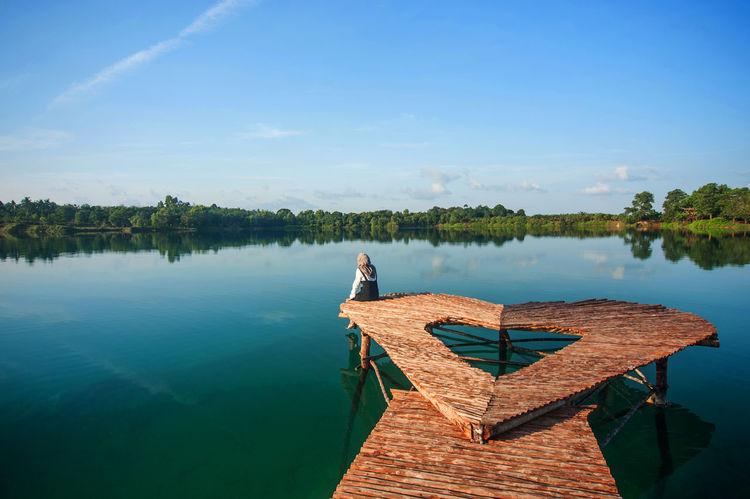 Bintan  Bintan Island, Indonesia Kepulauan Riau Love Lake Reflection Travel Beauty In Nature Bintan Island Blue Sky Danau Biru Bintan Daylight Gurun Pasir Bintan Kepri Lake Landscape Nature Nyiksakamera Outdoors Pulau Bintan Seri Kuala Lobam Vacations