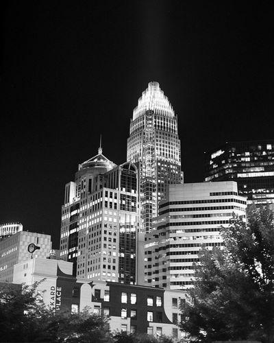 Charlotte, NC Queen City Skyline Skyline Charlotte Blackandwhite Black And White HDR City Downtown Urban Skyline Night Photography Night