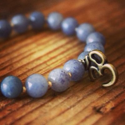 New blue aventurine and bronze om mala for sale! Http://theeasiersofterway.com/shop. Bracelets Bracelet Yoga Hindu
