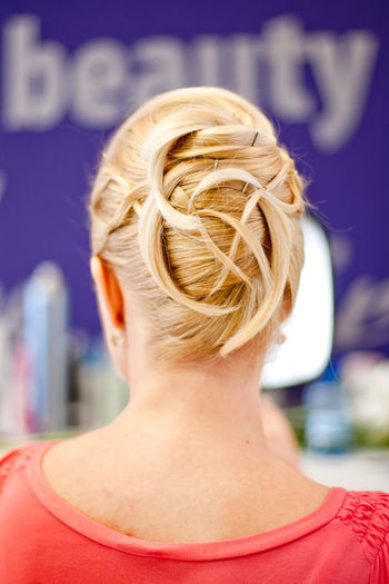Headshot One Person Hair Portrait Focus On Foreground Rear View Blond Hair Hairstyle Women Adult Young Adult Day Human Body Part Lifestyles Leisure Activity Hair Bun Human Hair Beautiful Woman Beauty Hairdressing Wedding Hair Wedding Hairstyles Getting Ready Blonde Intertwined