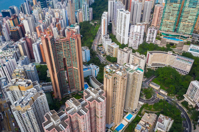 Hong Kong Hong Kong Top View Downtown City Building Skyscraper Travel Architecture Urban Business Landscape Cityscape Landmark Metropolis Aerial Fly Drone  Over Above Down Top Down Bird Eye Hk Hong Kong North Point Office Town Financial Skyline Sky Tower