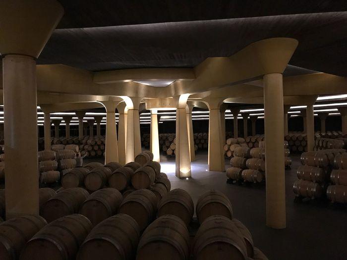Bodega Vivanco. Cultura del vino. Wine Silence Vino Bota Rioja Briones  Winemaking Wine Cask Vivanco Riojaalta In A Row Illuminated Indoors  Transportation Architectural Column No People Architecture Day Tranquility Pass Of Time