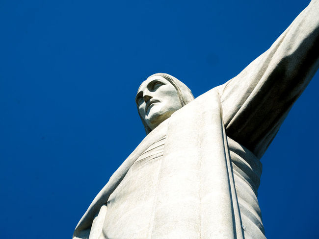 Brazil Corcovado Architecture Art And Craft Blue Brasil Brazilian Clear Sky Copy Space Corcovado National Park Craft Creativity Day Female Likeness Fine Art Statue Human Representation Low Angle View Male Likeness Nature No People Representation Sculpture Sky Statue Travel Destinations