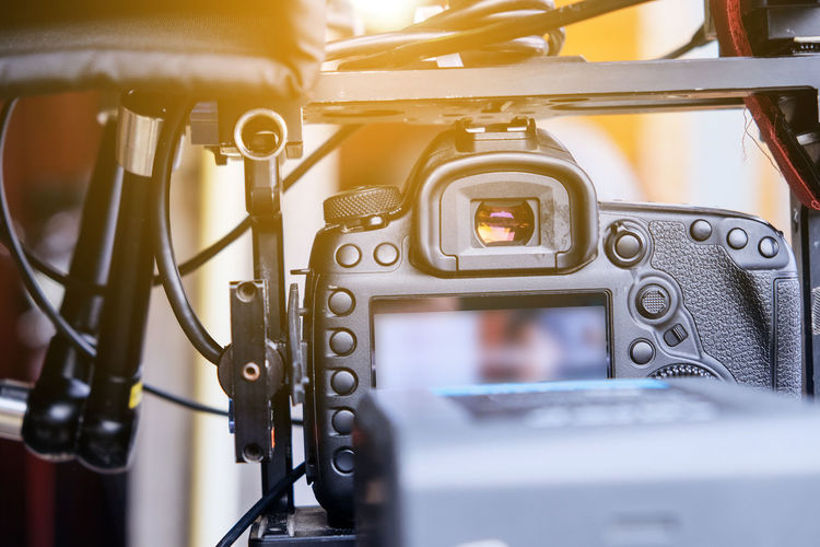 Close-up of movie camera