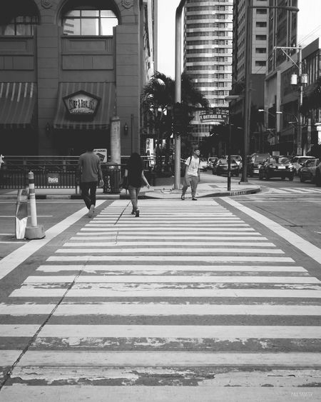 Black And White Pedestrian Walkway Roads Streetphotography Walking Person City Life City Street Office Building Modern EyeEm Manila Eyeem Philippines Eyeem Philippines Album