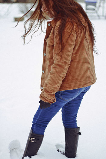 Snow, 2019 One Person Winter Women Real People Lifestyles Snow Leisure Activity Casual Clothing Cold Temperature Low Section Hair Clothing Warm Clothing Indoors  Human Body Part Jeans Hairstyle Long Hair Winter Movement Toronto Canada Fashion Candid Girl My Best Photo Analogue Sound