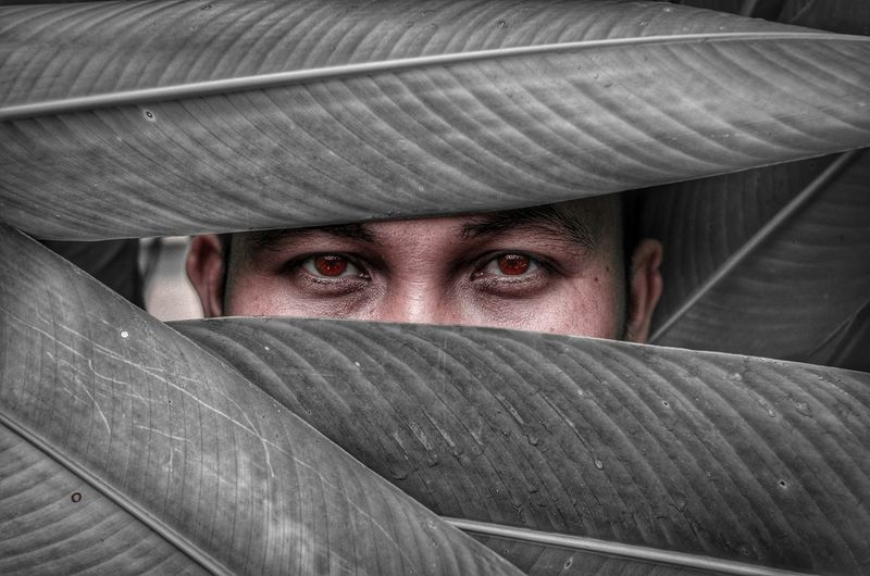Portrait of man hiding behind curtain