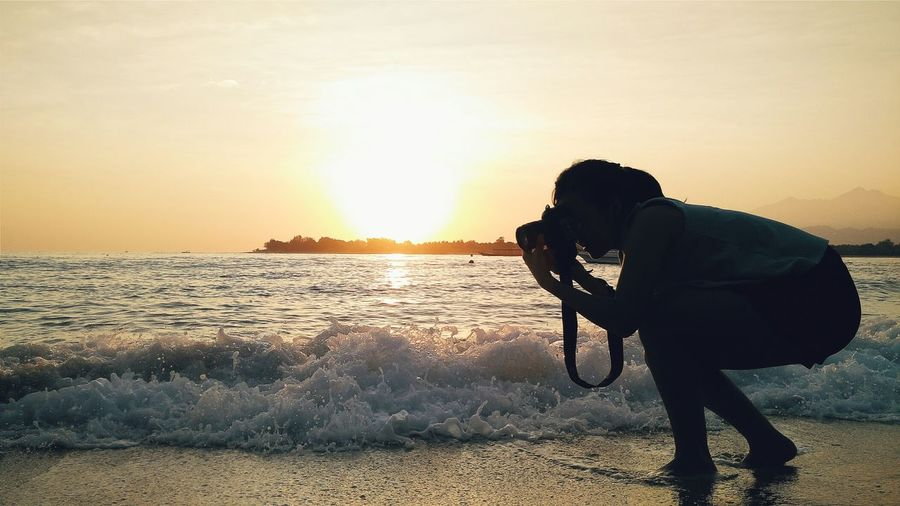 Creative Light And Shadow Lombok Sunrise Silhouette Waves Nature Landscape Travel Hello World Summer Views