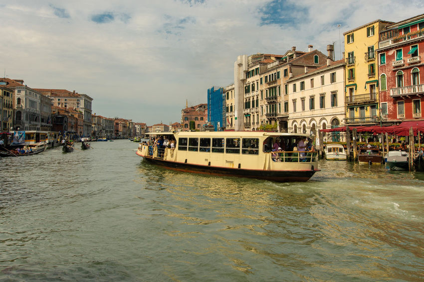 Vaporetto on Canal Grande Architecture Building Canal City Cloud - Sky Day Italy Mode Of Transportation Outdoors Passenger Craft Residential District Sky Transportation Travel Venice Water Waterfront