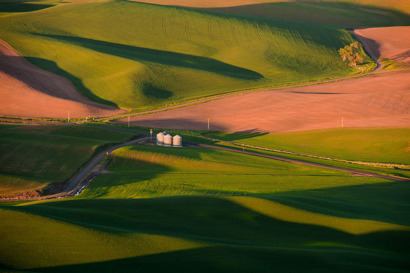 Silos On Field At Steptoe Butte State Park