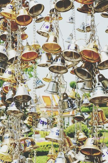 Hanging Abundance Large Group Of Objects No People Outdoors Day Close-up Little Bells Wat Arun, Bangkok Travel Destinations Tourist Attraction  Seeing Through Names On Bells Sony A6000 Bangkok, Thailand