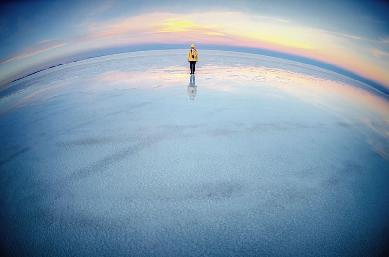 Betterlandscapes Sky Beauty In Nature Nature Blue Vignette Bolivia Uyuni Uyuni Fisheye Salt Lake