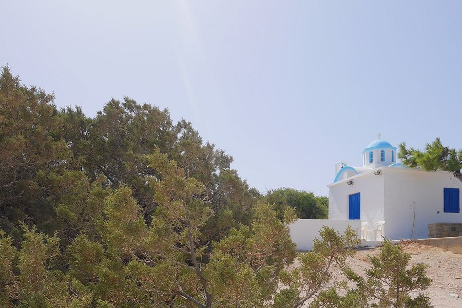 Religion Place Of Worship Spirituality Architecture Built Structure Building Exterior No People Whitewashed Tree Day Outdoors Nature Sky Religious Architecture Religion And Beliefs Religious  Full Frame Clear Sky Copy Space Architecture White Color Tranquil Scene Idyllic Greece Scenics