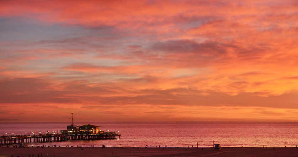 Sea Sky Sunset Water Cloud - Sky Horizon Over Water Beauty In Nature Orange Color Horizon Beach Scenics - Nature Nature Land Tranquility Tranquil Scene Architecture Built Structure Idyllic Outdoors No People Santa Monica Pier Santa Monica Amazing View Amazing Sunset