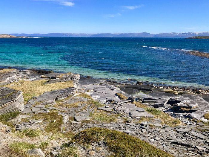 Beautiful Norway Water Sea Beach Land Sky Scenics - Nature Beauty In Nature Tranquility Rock Blue Tranquil Scene Nature Day No People Idyllic Sunlight Horizon Outdoors Horizon Over Water