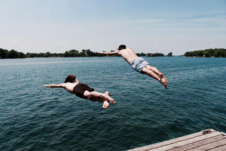 Dockside River Swimming Swim Boys Will Be Boys Summer Summertime Superman Dive Athlete