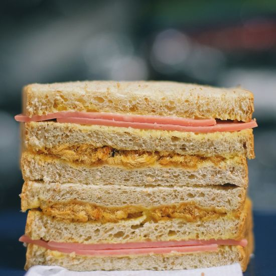 Close-up of bread on stack