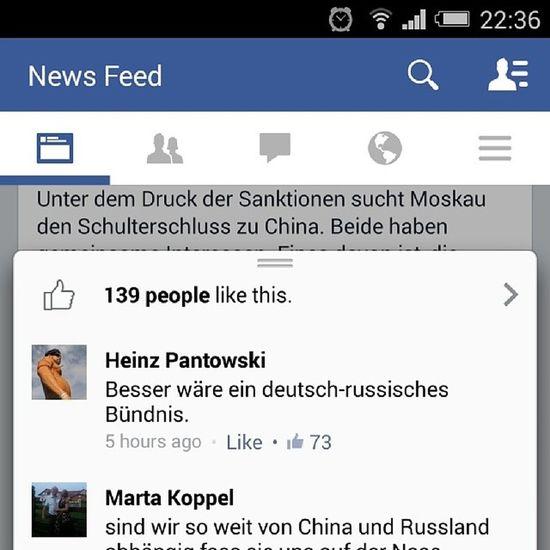 """Интересный комментарий об этой новости http://m.welt.de/debatte/kommentare/article128226243/Putin-schmiedet-sich-ein-antiwestliches-Buendnis.html Интересно, что русские считают запад врагом, причем запад для них это вообще почти вся планета вместе с США и ЕС, а немцы считают, что Германия находится под избыточным влиянием американцев. Перевод: """"русско-немецкий союз был бы лучше"""". Wondering, this is the comment from German news. http://m.welt.de/debatte/kommentare/article128226243/Putin-schmiedet-sich-ein-antiwestliches-Buendnis.html Russians are sure that the west is the enemy but Germans think that Russian-German union would be better. Germany Russia China"""