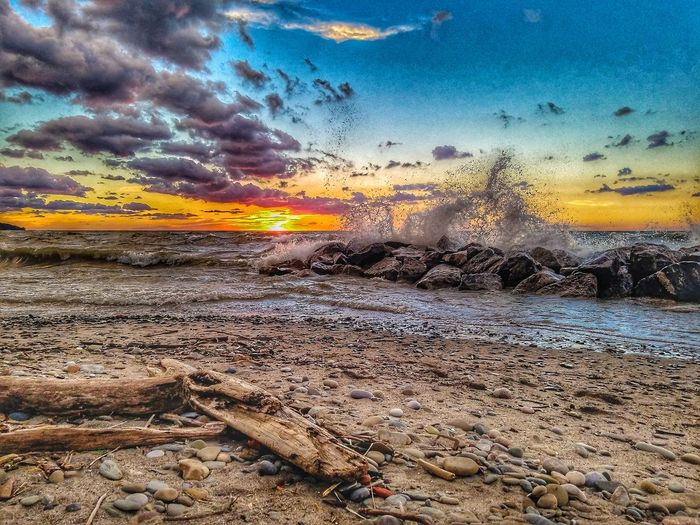 Waves at sunset Waves Windy Beachscape Sunsetphotos BeachSunset Beachscene HDR Beachphotography Colorful Naturephotography Nature Water Sunset Beach Sea Backgrounds Sky Close-up Horizon Over Water Cloud - Sky Pebble Beach