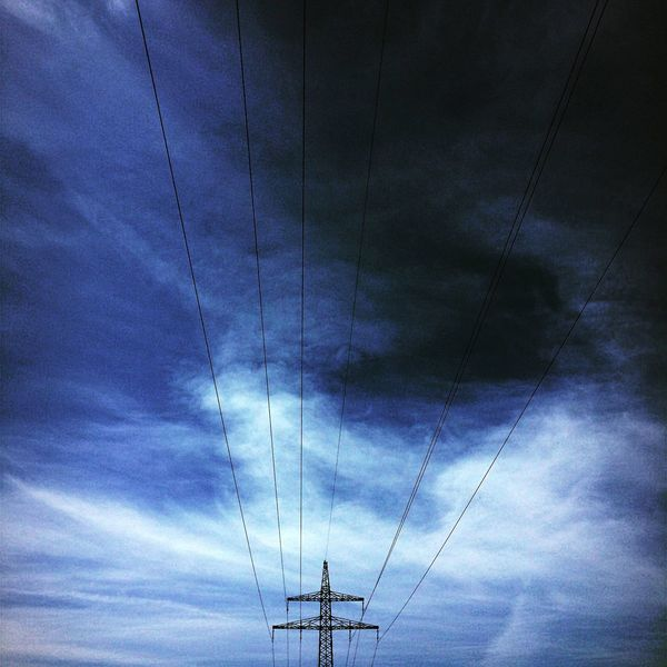 The Great Outdoors - 2017 EyeEm Awards Connection Cable Low Angle View Sky Electricity  Cloud - Sky Power Supply Power Line  Technology Fuel And Power Generation Electricity Pylon Blue No People Outdoors Day Nature Vapor Trail Telephone Line Beauty In Nature Blue Sky There Will Be Rain Big Clouds New One