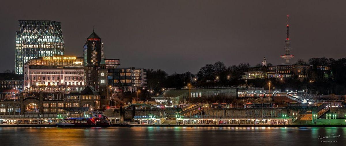 View of illuminated city at night