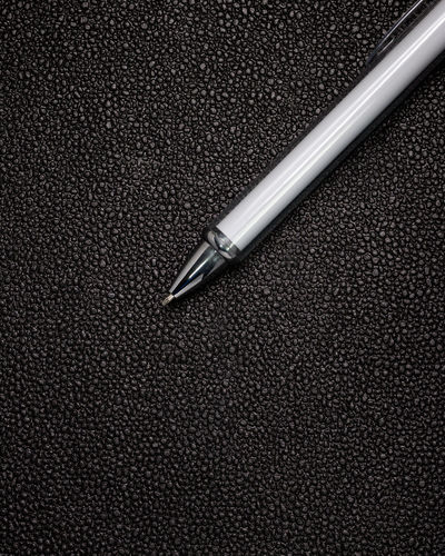 White pen on black leather background. Template of ballpoint pen for your design. Ballpoint Pen Business Classic Dark Leather Marker Office Pencils Press Write Ballpoint Ballpointpen Blank Contract Empty Equipment Pen Pencil Point School Signature Stationery Template Tool White