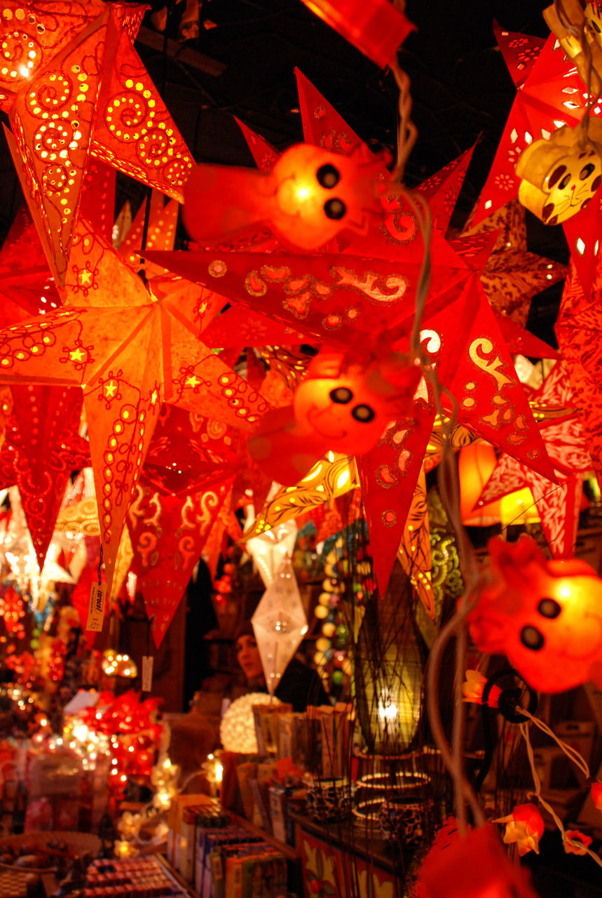 celebration, illuminated, hanging, christmas, night, decoration, christmas decoration, lighting equipment, cultures, tradition, indoors, abundance, lantern, christmas ornament, large group of objects, christmas market, chinese new year, choice, christmas lights, no people, close-up